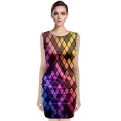 Colorful Abstract Plaid Rainbow Gold Purple Blue Sleeveless Velvet Midi Dress