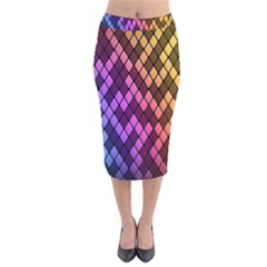 Colorful Abstract Plaid Rainbow Gold Purple Blue Velvet Midi Pencil Skirt