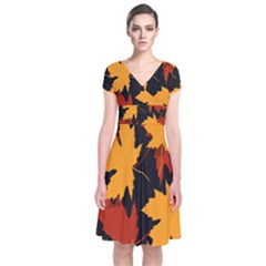 Dried Leaves Yellow Orange Piss Short Sleeve Front Wrap Dress