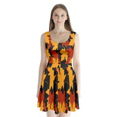 Dried Leaves Yellow Orange Piss Split Back Mini Dress