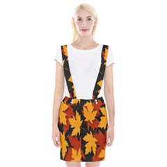 Dried Leaves Yellow Orange Piss Suspender Skirt