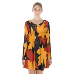 Dried Leaves Yellow Orange Piss Long Sleeve Velvet V Neck Dress