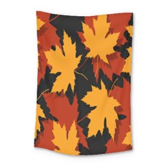 Dried Leaves Yellow Orange Piss Small Tapestry