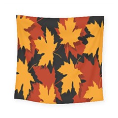 Dried Leaves Yellow Orange Piss Square Tapestry (small)