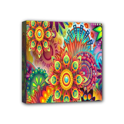 Colorful Abstract Flower Floral Sunflower Rose Star Rainbow Mini Canvas 4  X 4