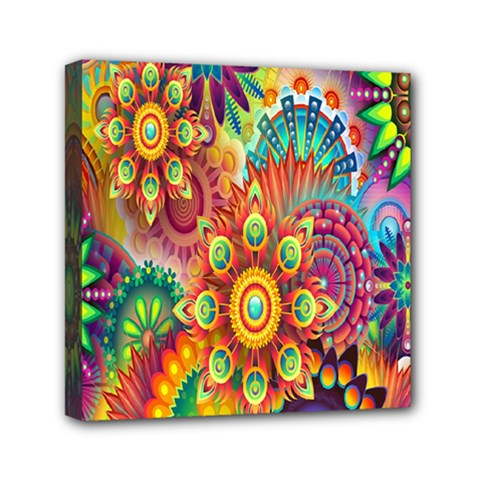 Colorful Abstract Flower Floral Sunflower Rose Star Rainbow Mini Canvas 6  X 6