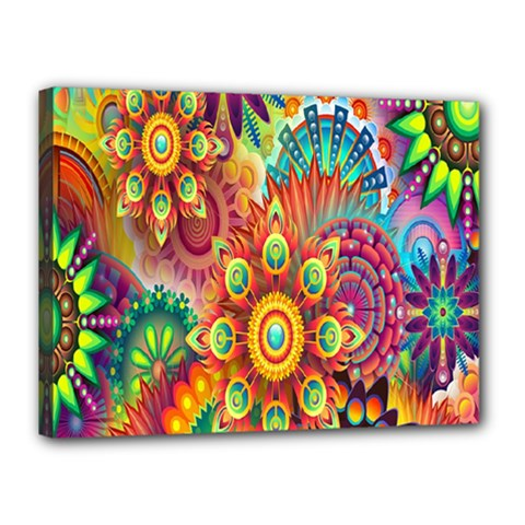 Colorful Abstract Flower Floral Sunflower Rose Star Rainbow Canvas 16  X 12