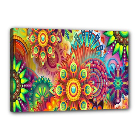 Colorful Abstract Flower Floral Sunflower Rose Star Rainbow Canvas 18  X 12