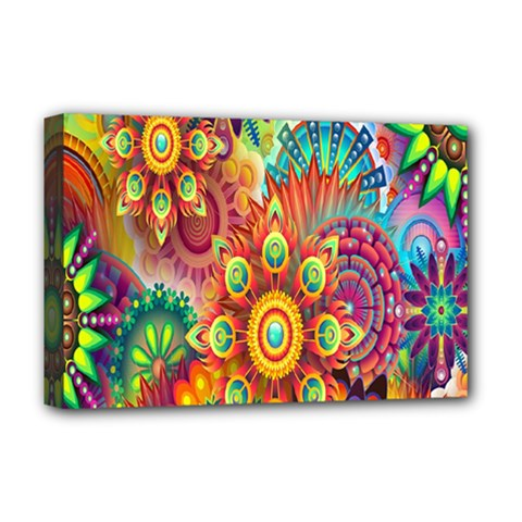 Colorful Abstract Flower Floral Sunflower Rose Star Rainbow Deluxe Canvas 18  X 12