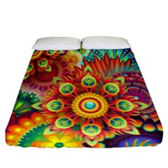 Colorful Abstract Flower Floral Sunflower Rose Star Rainbow Fitted Sheet (king Size)