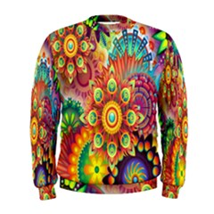 Colorful Abstract Flower Floral Sunflower Rose Star Rainbow Men s Sweatshirt