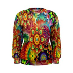 Colorful Abstract Flower Floral Sunflower Rose Star Rainbow Women s Sweatshirt