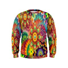 Colorful Abstract Flower Floral Sunflower Rose Star Rainbow Kids  Sweatshirt