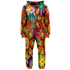 Colorful Abstract Flower Floral Sunflower Rose Star Rainbow Hooded Jumpsuit (ladies)