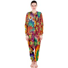 Colorful Abstract Flower Floral Sunflower Rose Star Rainbow Onepiece Jumpsuit (ladies)