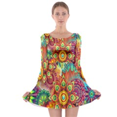 Colorful Abstract Flower Floral Sunflower Rose Star Rainbow Long Sleeve Skater Dress