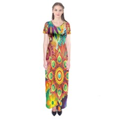 Colorful Abstract Flower Floral Sunflower Rose Star Rainbow Short Sleeve Maxi Dress