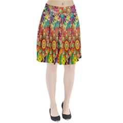 Colorful Abstract Flower Floral Sunflower Rose Star Rainbow Pleated Skirt