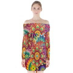 Colorful Abstract Flower Floral Sunflower Rose Star Rainbow Long Sleeve Off Shoulder Dress