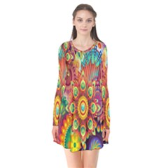 Colorful Abstract Flower Floral Sunflower Rose Star Rainbow Flare Dress