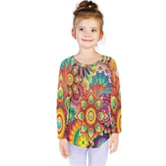Colorful Abstract Flower Floral Sunflower Rose Star Rainbow Kids  Long Sleeve Tee