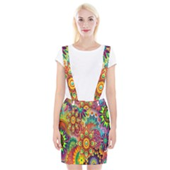 Colorful Abstract Flower Floral Sunflower Rose Star Rainbow Suspender Skirt