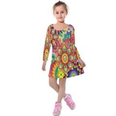 Colorful Abstract Flower Floral Sunflower Rose Star Rainbow Kids  Long Sleeve Velvet Dress