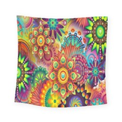 Colorful Abstract Flower Floral Sunflower Rose Star Rainbow Square Tapestry (small)