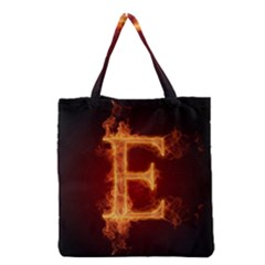 Fire Letterz E Grocery Tote Bag