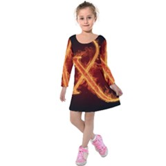 Fire Letterz X Kids  Long Sleeve Velvet Dress