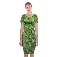 Circle Square Green Stone Classic Short Sleeve Midi Dress