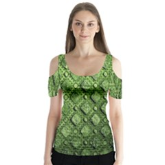Circle Square Green Stone Butterfly Sleeve Cutout Tee