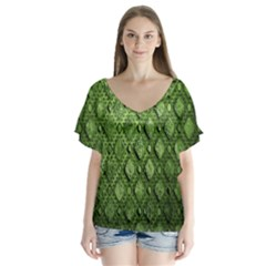 Circle Square Green Stone Flutter Sleeve Top