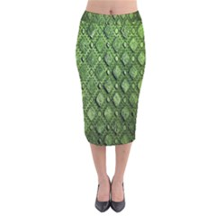 Circle Square Green Stone Velvet Midi Pencil Skirt