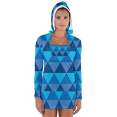 Geometric Chevron Blue Triangle Women s Long Sleeve Hooded T Shirt