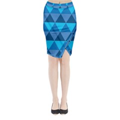 Geometric Chevron Blue Triangle Midi Wrap Pencil Skirt