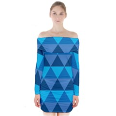 Geometric Chevron Blue Triangle Long Sleeve Off Shoulder Dress