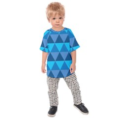 Geometric Chevron Blue Triangle Kids  Raglan Tee