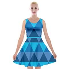 Geometric Chevron Blue Triangle Velvet Skater Dress