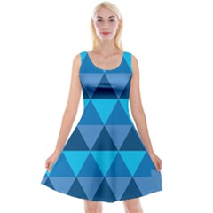 Geometric Chevron Blue Triangle Reversible Velvet Sleeveless Dress