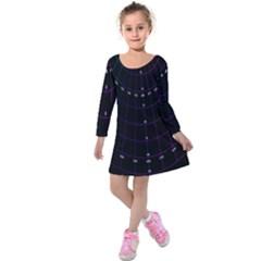 Formula Number Line Purple Natural Kids  Long Sleeve Velvet Dress