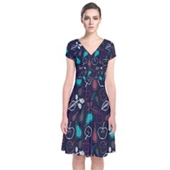 Fruit Pear Apple Purple Pink Blue Short Sleeve Front Wrap Dress