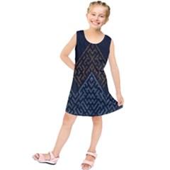Geometric Triangle Grey Gold Kids  Tunic Dress