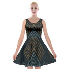 Geometric Triangle Grey Gold Velvet Skater Dress