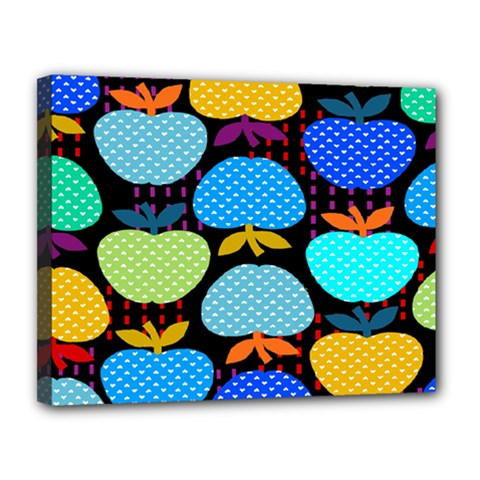 Fruit Apples Color Rainbow Green Blue Yellow Orange Canvas 14  X 11