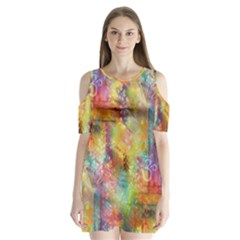 Rainbow Spirit Shoulder Cutout Velvet  One Piece