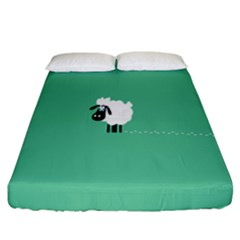 Goat Sheep Green White Animals Fitted Sheet (california King Size)
