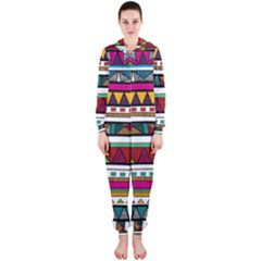 Woven Fabric Triangle Color Rainbow Chevron Wave Jpeg Hooded Jumpsuit (ladies)