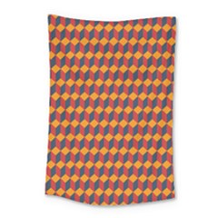 Geometric Plaid Red Orange Small Tapestry