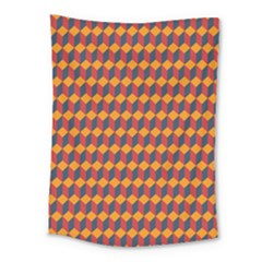 Geometric Plaid Red Orange Medium Tapestry